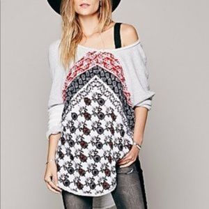 Free People Del Ray Mixed Print Pullover